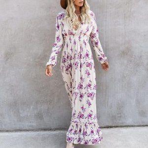 Gavin Long Sleeve Floral Smocked Maxi Dress